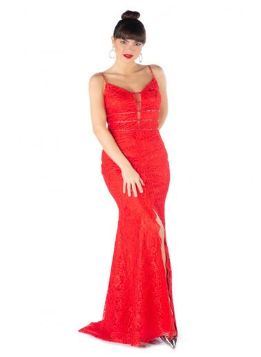 Pierre Cardin Dantelli Yırtmaçlı Uzun Balık Abiye Elbise Kırmızı